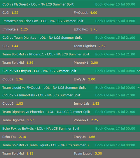 Betting Odds Winner NA LCS Summer Split 2017 Week 6 by bet365