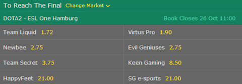 dota 2 esl one hamburg 2017 major reach the final betting odds bet365