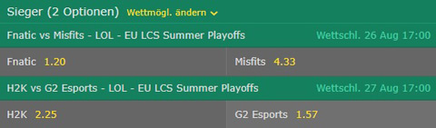 Betting Odds Winner Semifinals EU LCS Summer Split Playoffs 2017 by bet365