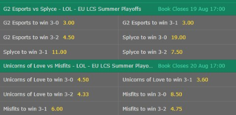 Correct Map Score LoL Betting Odds EU LCS 2017 Summer Playoffs