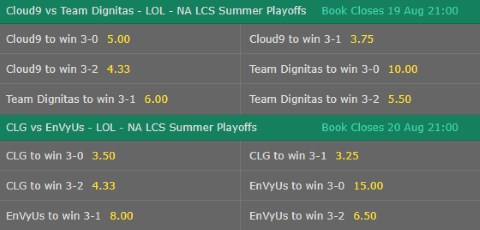 Correct Map Score LoL Betting Odds NA LCS 2017 Summer Playoffs