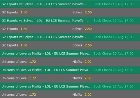 First Baron LoL Betting Odds EU LCS 2017 Summer Playoffs