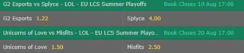 Match Winner LoL Betting Odds EU LCS 2017 Summer Playoffs