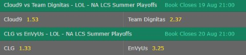 Match Winner LoL Betting Odds NA LCS 2017 Summer Playoffs