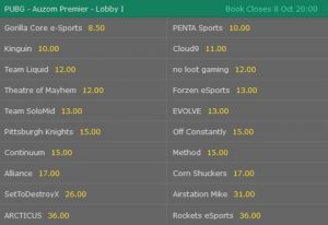 PUBG Betting Odds Auzon Premier bet365