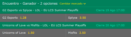 Quarterfinals EU LCS Summer Playoffs 2017 Betting Odds on Bet365