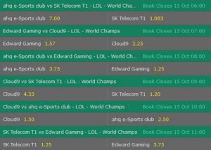 Group A Betting Odds LoL Worlds 2017 Bet365