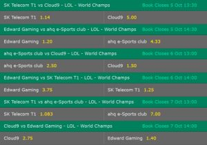 Group A LoL Worlds 2017 Betting Odds on Bet365