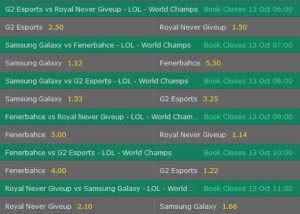 Group C Betting Odds LoL Worlds 2017 Bet365