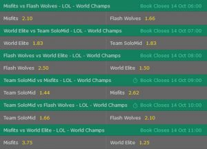 Group D Betting Odds LoL Worlds 2017 Bet365