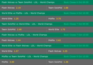 Group D LoL Worlds 2017 Betting Odds on Bet365