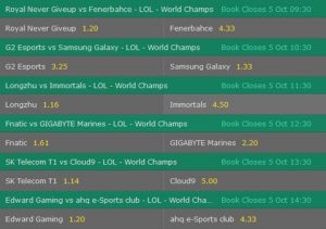 Group Stage1 Day1 Betting Odds LoL Worlds 2017 Bet365