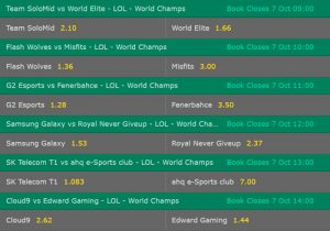 Group Stage1 Day3 Betting Odds LoL Worlds 2017 Bet365