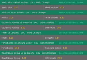 Group Stage1 Day4 Betting Odds LoL Worlds 2017 Bet365