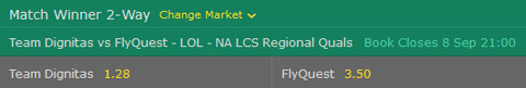 Match Winner Betting Odds NA LCS 2017 Regional Worlds Qualifier at bet365