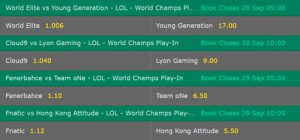 Match Winner Play-In Knockout Stage Betting Odds LoL WM 2017 Bet365