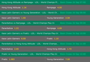 Play In Phase Day4 Betting Odds LoL WM 2017 Bet365