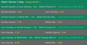 Play-In Stage #1 Odds Bet365