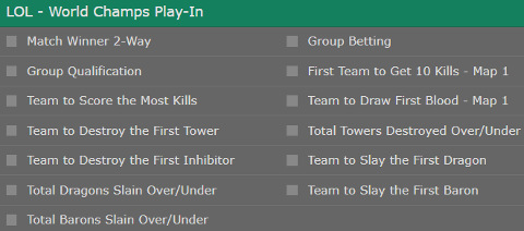 Play In Stage Betting Odds LoL Worlds 2017 bet365