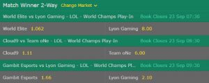 Play In Stage Match Winner LoL Worlds 2017 bet365
