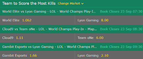 Play In Stage Most Kills LoL Worlds 2017 bet365