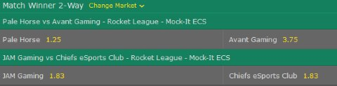 Rocket League Mock It ECS Bet365 Match Winner Betting Odds