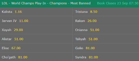Specials LoL Worlds 2017 Most Banned bet365