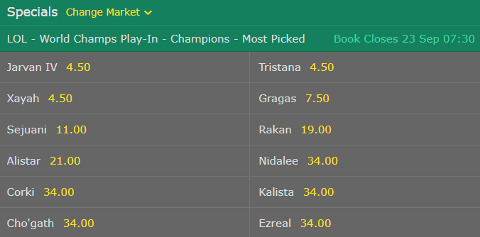 Specials LoL Worlds 2017 Most Picked bet365