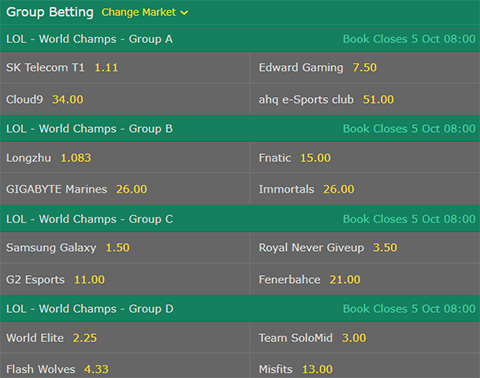 Group Betting LoL Worlds 2017 Group Stage bet365 Odds