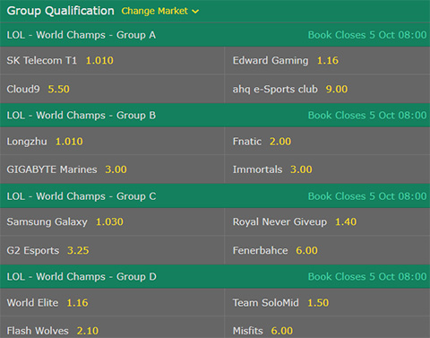 Group Qualification LoL Worlds 2017 Group Stage bet365 Odds