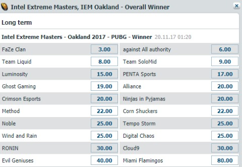 PUBG IEM Oakland 2017 Bet At Home Winner