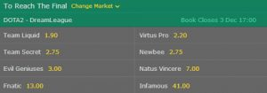 dreamleague season 8 dota 2 reach the final betting odds bet365