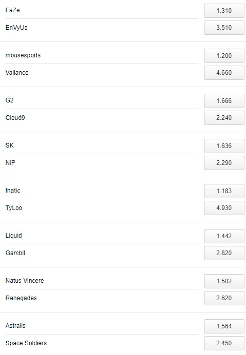 DreamHack Masters Marseille Betting Odds Pinnacle