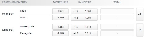Intel Extreme Masters XIII Sydney Playoffs Betting Odds Pinnacle