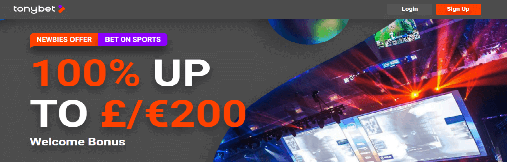 Tonybet esports welcome offer 100% up to €200
