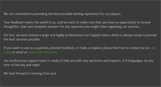 LSBet customer support