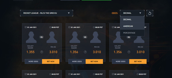 Rocket League Odds at Pinnacle