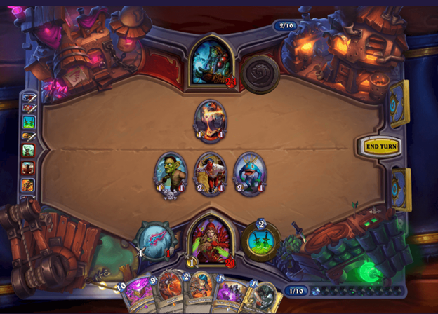 The Hearthstone board in action