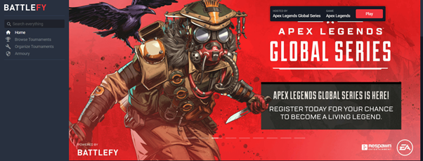 Screencap of BattleFy website, with featured image of Apex Legends character