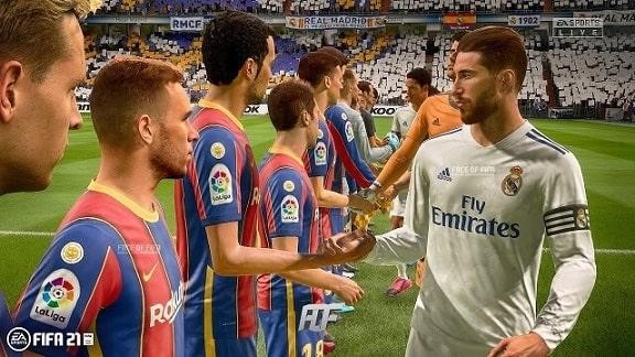 Real Madrid and Barcelona players about to kick off a FIFA 2021 match.