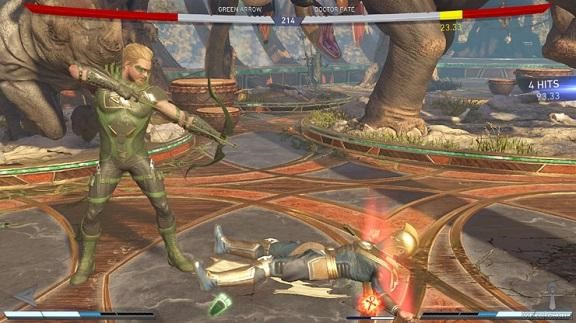 An Injustice 2 fight between Green Arrow and Doctor Fate