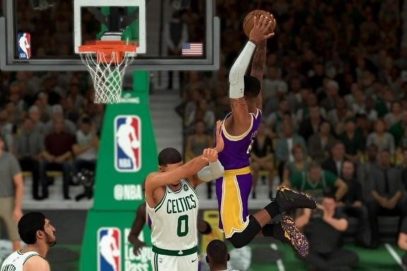 Action footage of an NBA 2K game between Boston and the LA Lakers