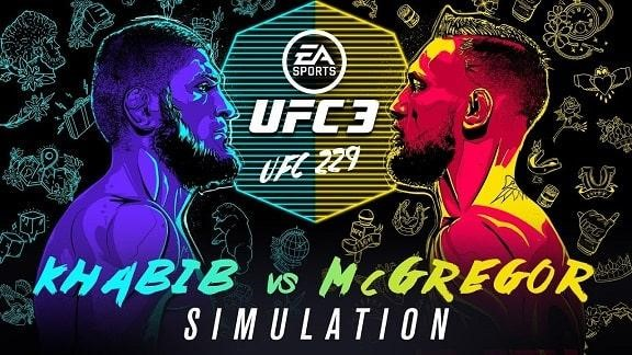 Introduction screen to a UFC 3 bout between two UFC great, Khabib and McGregor.