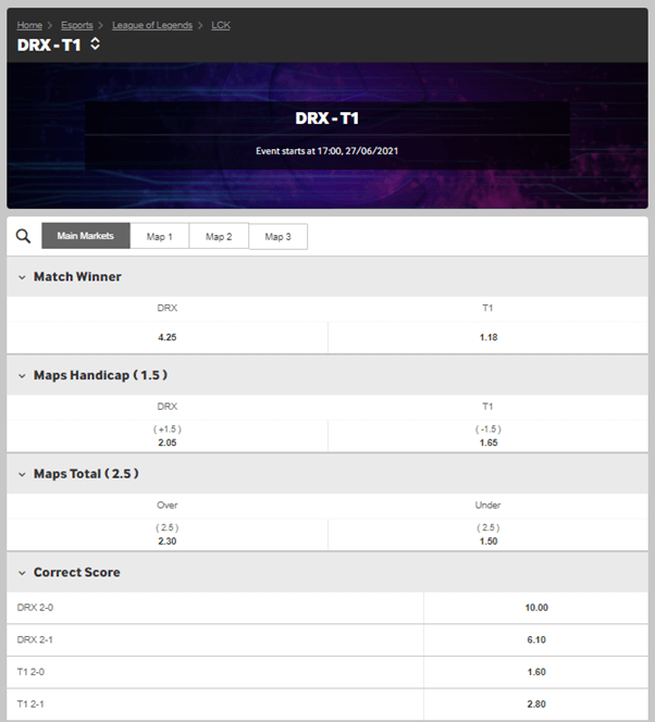 Betting odds for DRX versus T1 on Week 3 of the Summer split - Betway