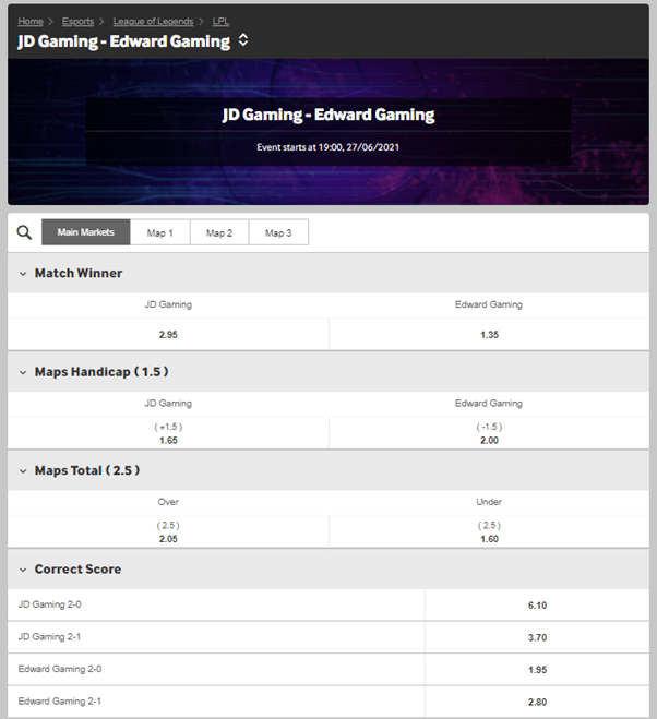 Betting odds for JD Gaming versus EDward Gaming in Week 3 of the Summer split. Rivalry